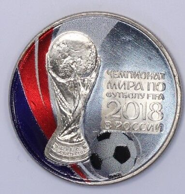 Russia 25 rubles 2018 FIFA Football world cup Colored Coin Soccer Flag and Ball