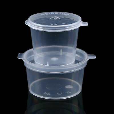 024069dd384 50X DISPOSABLE SAUCE Cups Clear Plastic Jello Shot Condiment Container with  Lid