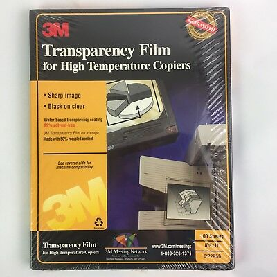 3M Transparency Film PP2950 for High Temperature Copiers 100 Sheets 8.5 x 11 NEW