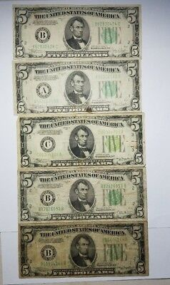 Lot of Five 1934 $5 Federal Reserve Notes - US Currency
