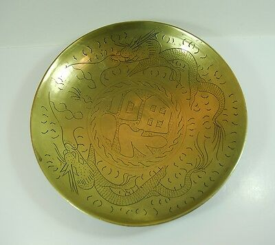 Vintage Brass Chinese Bowl Hand Etched Engraved With Dragons - Has A Good Ring