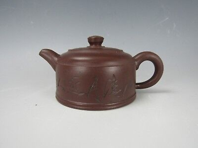 A Chinese Purple Sand Clay Teapot Inscribed w/Landscapes/Calligraphy Marked
