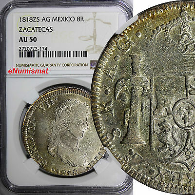 MEXICO War Of Independence ZACATECAS 1818 ZS AG 8 Reales NGC AU50 KM# 111.5