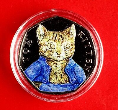 Beatrix potter 50p Tom kitten coloured UNCIRCULATED coin 2017