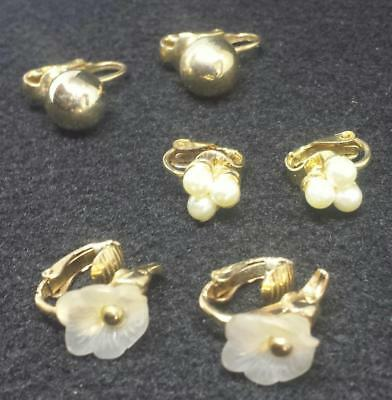 JEWELRY LOT 3 Pairs sets Multi CLIP ON earrings Dangle stud Vintage? Now? P18