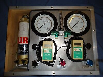 Scuba Diving Nitrox mixing panel with fill whip, manifold, oxygen analysers