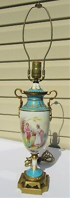 "Gorgeous Quality Antique 14"" Sevres Urn/Lamp Finely Painted Ovr Turquoise Base"