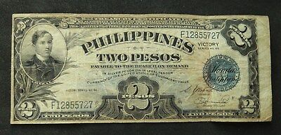 Philippines 2 Pesos 1944. Victory Series. Off center error. Circulated