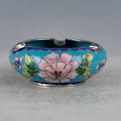 Exquisite Chinese Cloisonne Handmade Flowers Ashtray Pot