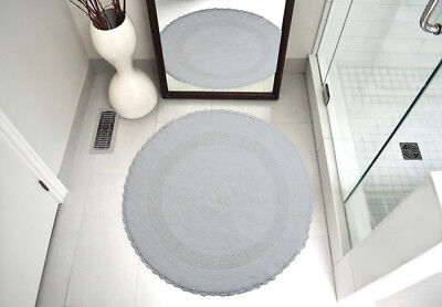 Bath Rug Cotton 36 Inch Round Reversible Blue White Machine