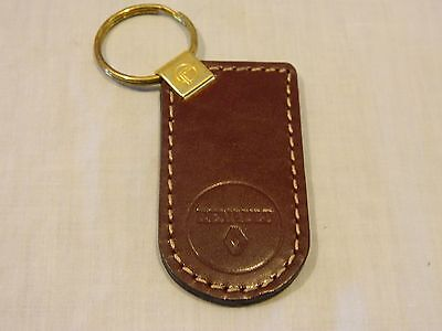 Vintage Dark Brown Genuine Leather RENAULT Keychain Key Chain - New/Old Stock