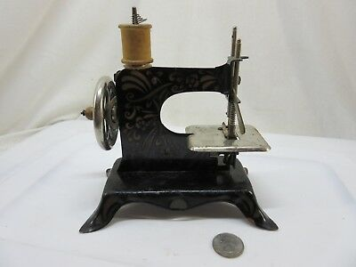 Vintage Mini / Toy Floral Print Hand Crank Sewing Machine, Made in Germany