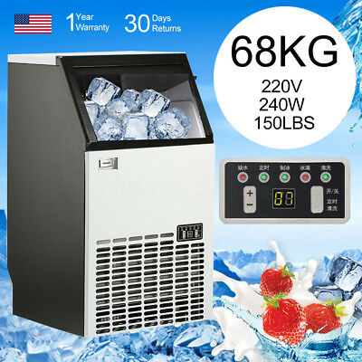 68kg/150Lbs 220V 240W Automatic Ice Cube Maker Machine Commercial Home Bar BMG