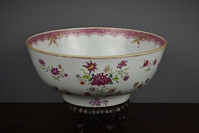 Fine Quality Chinese 18Th Century Famille Rose Punch Bowl