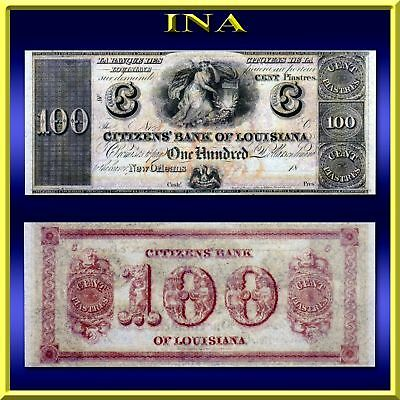 Louisiana New Orleans Citizens Bank $100 Note Dollar Obsolete Currency Crisp Unc