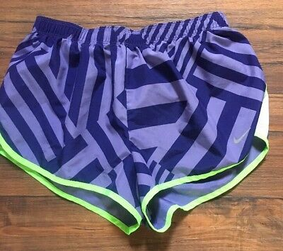 4bf306a7e6ce0 Womens Nike Dri Fit Purple Green Workout Athletic Running Shorts - Sz Small