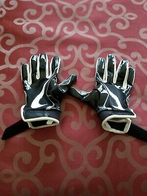 NIKE VAPOR JET Boys FootBall Gloves YS BLACK WHITE RECEIVER Youth Small