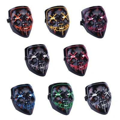 US LED Party Full Facewear Cosplay Mask Light Up Glow Skull Halloween Costume