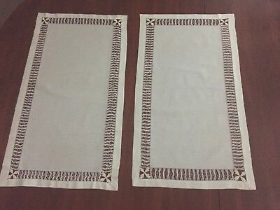 """Two Antique Table Runners White Cotton Hand Drawn Work Design, Both 14 x 25 1/4"""""""