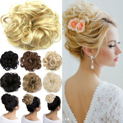 Extra Thick Curly Messy Bun Hair Piece Scrunchie 100% Natural Hair Extensions US