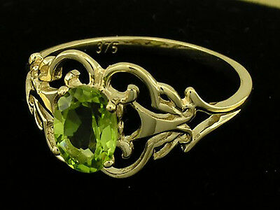 R143- Genuine 9ct Solid Gold Natural Garnet Amethyst Peridot Topaz Filigree Ring