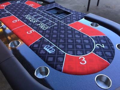 "94"" 7.8ft Poker Table - High Quality Black/Red Felt Suited - Deluxe Casino Table"