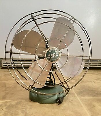 "working Art Deco 12""  blade ZERO  OSCILLATING 1-SPEED FAN - Aluminum Blade"