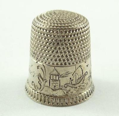 Antique American Sterling Silver Sewing Thimble by Waite, Thresher Co. 1890-1910