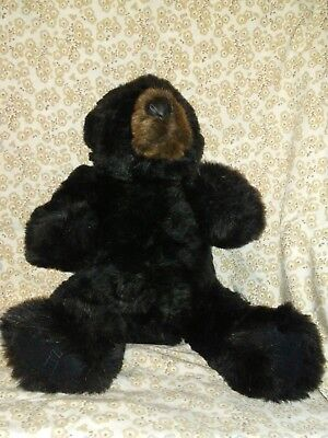 """Ditz Designs Plush Black Bear 24"""" Jointed Realistic Stuffed Sits or Lays Flat"""