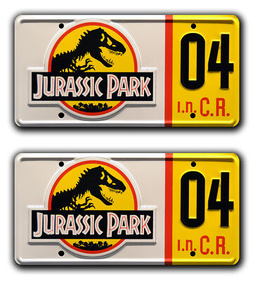 Jurassic Park | Ford Explorer | #04 | Metal Stamped Prop License Plate Combo