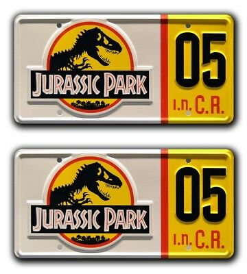 Jurassic Park | Ford Explorer #05 | Metal Stamped Replica License Plate Combo