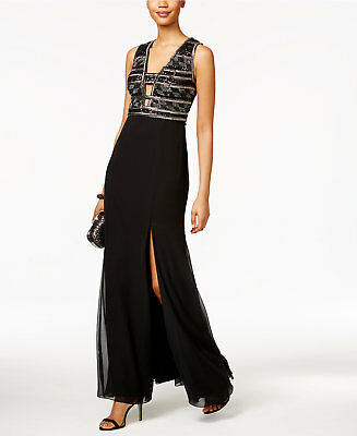 1e7fe51eac588 NEW Adrianna Papell- Black Sequin Beaded V Neck Formal Evening Gown - Size 6