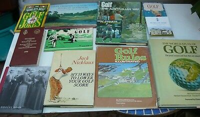 Collection of 11 older/vintage golf books in almost new condition + address book