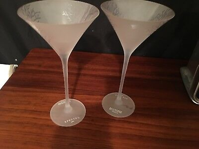 "2 Belvedere Vodka Frosted Long Stem Martini Glasses 9"" New"