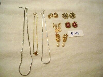 Vintage Jewelry Lot of 7  Necklaces Clip On Earrings Signed BSK Monet Coro Avon