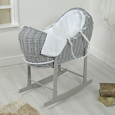 4Baby Grey Wicker / White Dimple Padded Snooze Pod Moses Basket & Rocking Stand