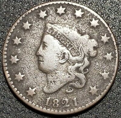 1821 Coronet/Matron Head Large Cent N-1 Very Nice Coin For Your Collection