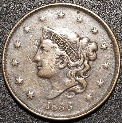 1836 Coronet/Matron Head Large Cent N-1 180° Rotated Reverse For Your Collection