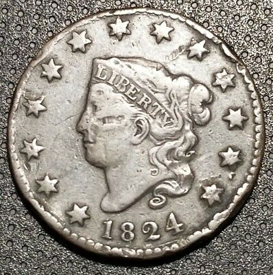 1824 Coronet/Matron Head Large Cent N-4 R-2+ Very Nice Coin For Your Collection