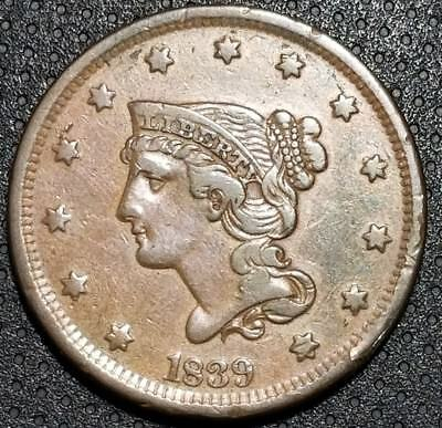 1839 Braided Hair (Petite) Large Cent N-8 Very Nice Coin For Your Collection