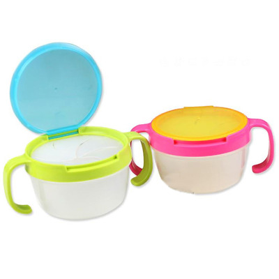 C44EEF3 Baby Infant Food Keeper Container Cup Traveling Double handle Snack Cup