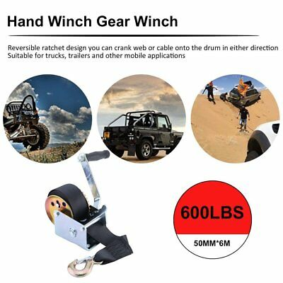 600LBS HAND WINCH 6m GEAR SYSTEM SYNTHETIC BELT BOAT TRAILER CAMPER EASY MOUNT