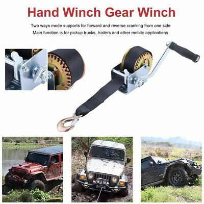 600LBS Hand Winch Synthetic Strap 2 Way Manual Operated Car Boat Trailer 4WD