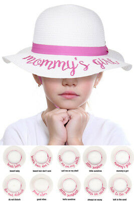 dd92f038e28 ScarvesMe CC Kids 2-7 Years Exclusive Straw Embroidered Lettering Floppy Sun  Hat
