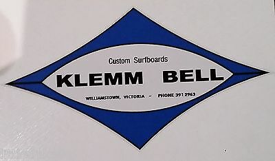 KLEMM BELL SURFBOARDS Vintage  Retro Sticker Decal 1970s LONGBOARD SURFER SURF