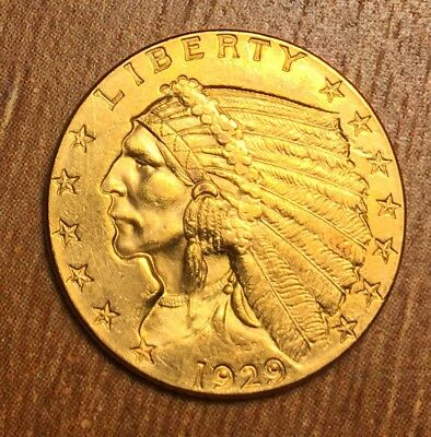 1929 Gold Quarter Eagle $2.50 Indian . Wish it was a $5! Really good Uncirculate