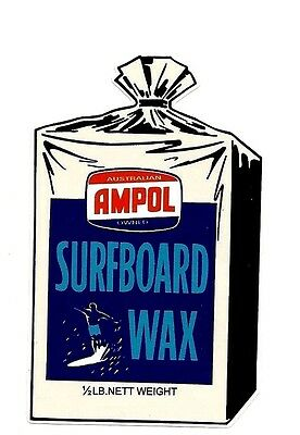 """AMPOL SURFBOARD WAX"" VINTAGE / RETRO Sticker Decal 1970s LONGBOARD SURFER SURF"