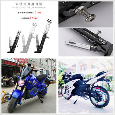 Black+Silver Motorcycle Adjustable Side Stand Holder Tripod Holder Fall Protect