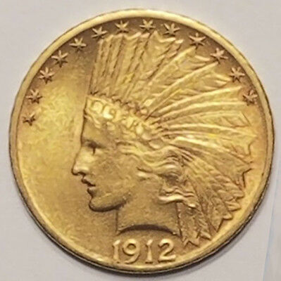 1912 Gold United States $10 Dollar Indian Head Coin
