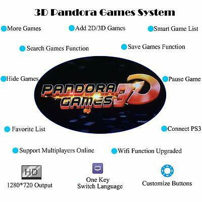 3D Pandora Key 7 Arcade Console with 2413 Retro HD Games 2 Players Add More Game